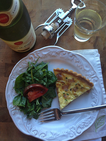 Quiche Lorraine, Green Salad and Cotes du Rhone Wine